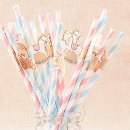 Pajitas de papel Baby Shower con banderines