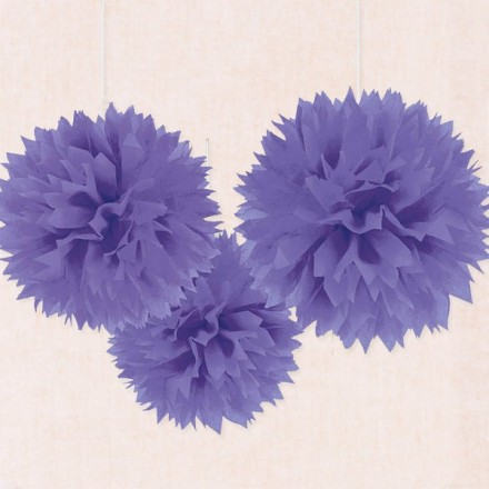 Set de 3 Pompones de papel color morado - 40cm