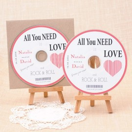 Cds personalizados para detalle de boda: All you need is Love and Rock and Roll
