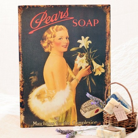 Cartel vintage de metal: Pears Soap