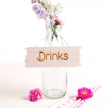 Cartelito rustico de madera Drinks