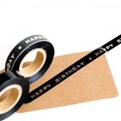 Washi Tape negro dimo Happy Birthday