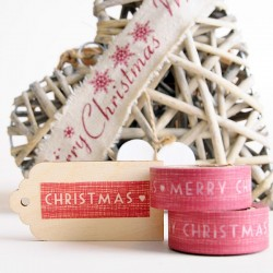 "Washi Tape ""Merry Christmas"" rojo con corazones"