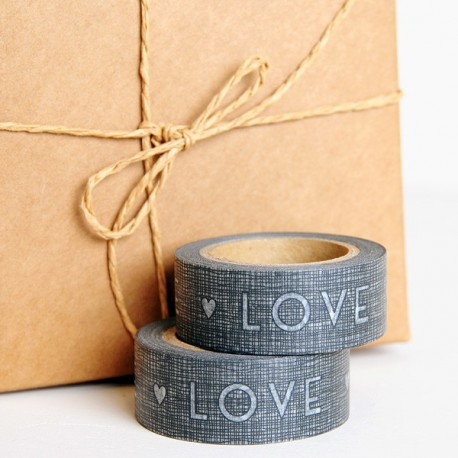 Washi Tape LOVE gris oscuro