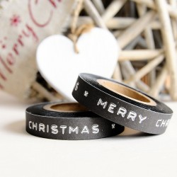 Washi Tape negro Merry Christmas