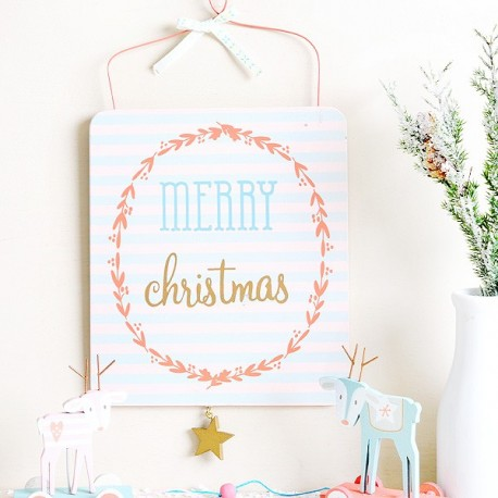 "Cartel ""Merry Christmas"" colores pasteles"