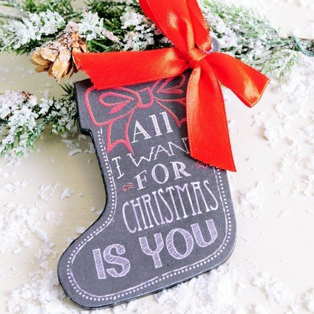 Cartel forma calcetin: All I want for christmas is YOU