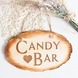Cartel Candy Bar rustico